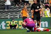 Goal Jarrod Bowen of Hull City Celebrates as he levels the score line 1-1 during the EFL Sky Bet Championship match between Hull City and Bristol City at the KCOM Stadium, Kingston upon Hull, England on 24 August 2019.