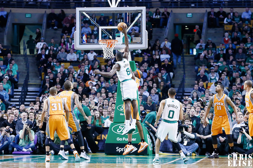 09 January 2013: Boston Celtics power forward Jeff Green (8) dunks the ball over Phoenix Suns center Jermaine O'Neal (20) during the Boston Celtics 87-79 victory over the Phoenix Suns at the TD Garden, Boston, Massachusetts, USA.