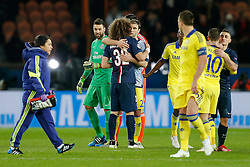 Branislav Ivanovic of Chelsea hugs ex teammate David Luiz of Paris Saint-Germain after the match ends in a 1-1 draw - Photo mandatory by-line: Rogan Thomson/JMP - 07966 386802 - 17/02/2015 - SPORT - FOOTBALL - Paris, France - Parc des Princes - Paris Saint-Germain v Chelsea - UEFA Champions League, Last 16, First Leg.