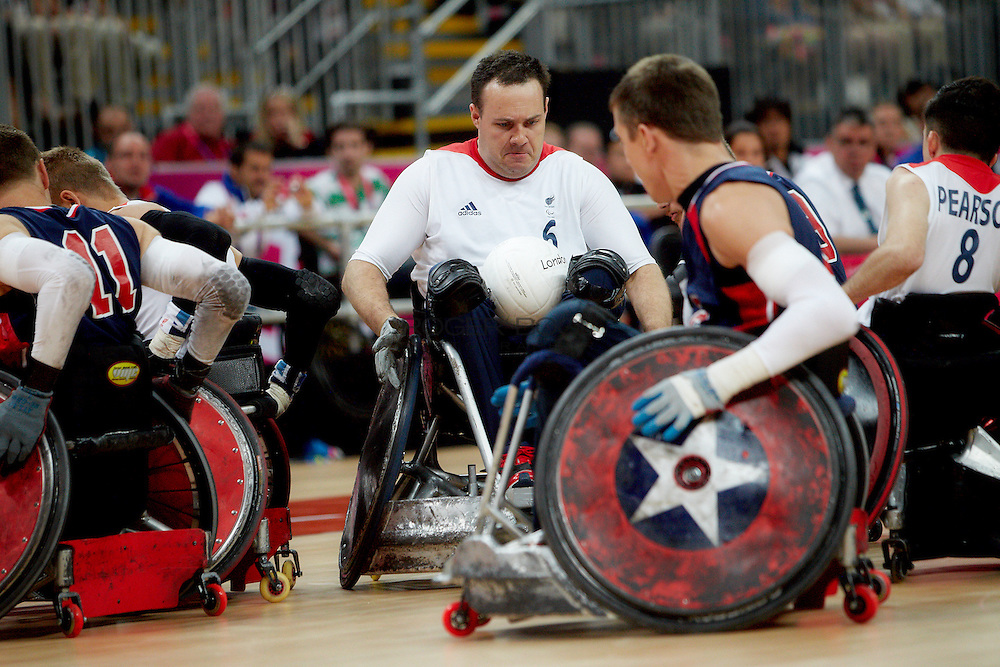 Ross Morrison of Great Britain in the Wheelchair Rugby Mixed.Pool Phase of Group A,.USA 56 - 44 GBR at the Basketball arena on day 7 of the London 2012 Paralympic Games. 6th September 2012.