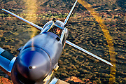 "Spectacular color photographic image of a P-51 Mustang ""Cripes A' Mighty"" up really close, taken air to air over the Arizona desert"