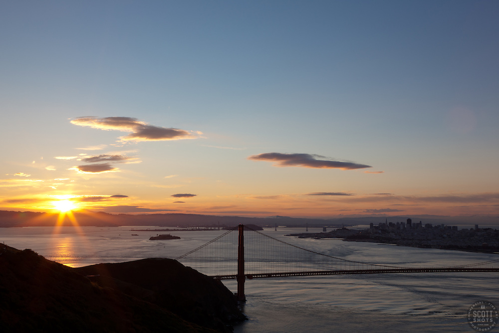 """Golden Gate Bridge Sunrise 3"" - Photograph of San Francisco's famous Golden Gate Bridge at sunrise. San Francisco can be seen in the distance."