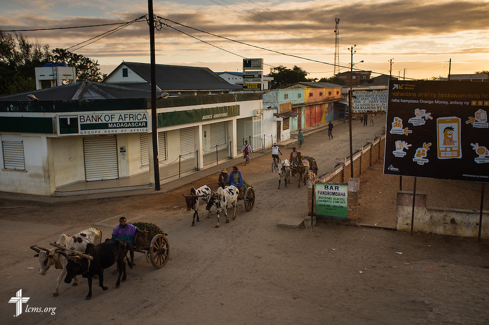 The sun rises over the town of Ambovombe, Madagascar, early Tuesday, Oct. 21, 2014.  LCMS Communications/Erik M. Lunsford