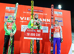 12.12.2015, Nordic Center, Nizhny Tagil, RUS, FIS Weltcup Ski Sprung, Nizhny Tagil, Herren, Siegerehrung, im Bild v.l. Peter Prevc (SLO, 2. Platz), Severin Freund (GER, 1. Platz), Joachim Hauer (NOR, 3. Platz) // 2nd placed Peter Prevc of Slovenia ( L ) 1st placed Severin Freund of Germany ( C ) and 3rd placed Joachim Hauer of Norway ( R ) celebrate on Podium during award winner ceremony of mens Skijumping Competition of FIS Skijumping World Cup at the Nordic Center in Nizhny Tagil, Russia on 2015/12/12. EXPA Pictures © 2015, PhotoCredit: EXPA/ Tadeusz Mieczynski