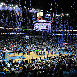 January 19, 2011; New Orleans, LA, USA; A general view from the stands as confetti falls following an overtime win by the New Orleans Hornets over the Memphis Grizzlies at the New Orleans Arena. The Hornets defeated the Grizzlies 130-102 in overtime.  Mandatory Credit: Derick E. Hingle