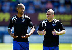 Jermaine Beckford of Bury warms up with Stephen Dawson - Mandatory by-line: Matt McNulty/JMP - 16/07/2017 - FOOTBALL - Gigg Lane - Bury, England - Bury v Huddersfield Town - Pre-season friendly