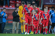 York City midfielder Michael Coulson leads York City out  during the Sky Bet League 2 match between York City and Plymouth Argyle at Bootham Crescent, York, England on 14 November 2015. Photo by Simon Davies.