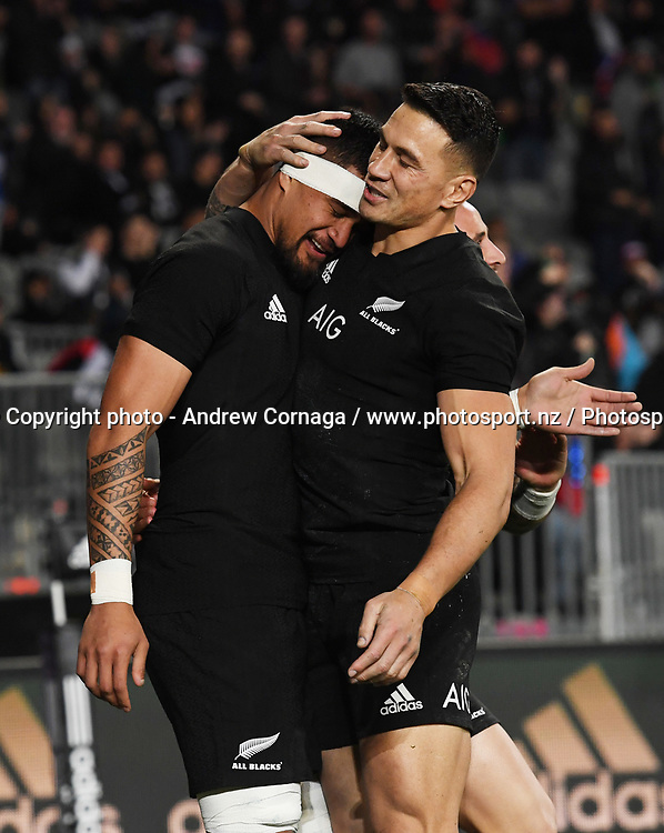 Vaea Fifita is hugged by Sonny Bill Williams after scoring a try.<br /> New Zealand All Blacks v Samoa test match rugby union. Pasifika Challenge. Eden Park, Auckland, New Zealand. Friday 16 June 2017. &copy; Copyright photo: Andrew Cornaga / www.Photosport.nz