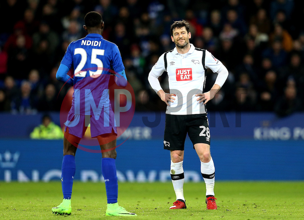 David Nugent of Derby County looks frustrated during the defeat to Leicester City - Mandatory by-line: Robbie Stephenson/JMP - 08/02/2017 - FOOTBALL - King Power Stadium - Leicester, England - Leicester City v Derby County - Emirates FA Cup fourth round replay