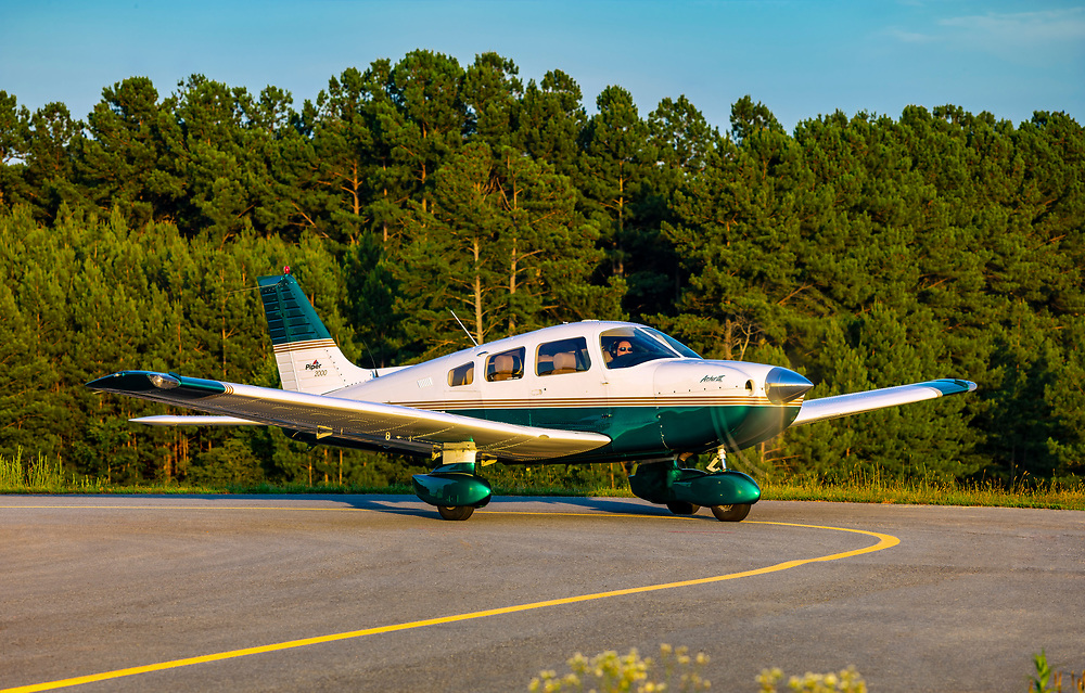 Piper Archer III, shot at Habersham County Airport, near Cornelia, Gerogia.  <br /> <br /> Created by aviation photographer John Slemp of Aerographs Aviation Photography. Clients include Goodyear Aviation Tires, Phillips 66 Aviation Fuels, Smithsonian Air & Space magazine, and The Lindbergh Foundation.  Specialising in high end commercial aviation photography and the supply of aviation stock photography for advertising, corporate, and editorial use.
