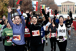 19th Philadelphia Marathon. November 18, 2012 -  Benjamin Franklin Parkway, Philadelphia, PA;  Alexandra Barnard (29365), from Philadelphia Kyra Nader (30284) from Ellicott City, MD and Rosemary Apeland (8932) from Belford, NJ are seen at the start of the race.