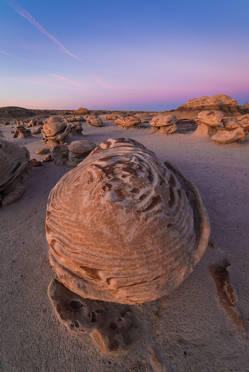 A picture of the Cracked Eggs Rock formation in the Bisti Badlands in New Mexico<br /> <br /> Camera <br /> NIKON D610<br /> Lens <br /> 14.0 mm f/2.8<br /> Focal Length <br /> 14<br /> Shutter Speed <br /> 1<br /> Aperture <br /> 13<br /> ISO <br /> 50