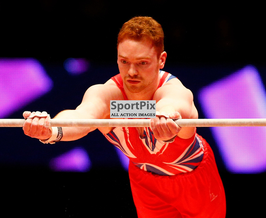 2015 Artistic Gymnastics World Championships being held in Glasgow from 23rd October to 1st November 2015...Daniel Purves (Great Britain) competing in the Horizontal Bar competition..(c) STEPHEN LAWSON | SportPix.org.uk
