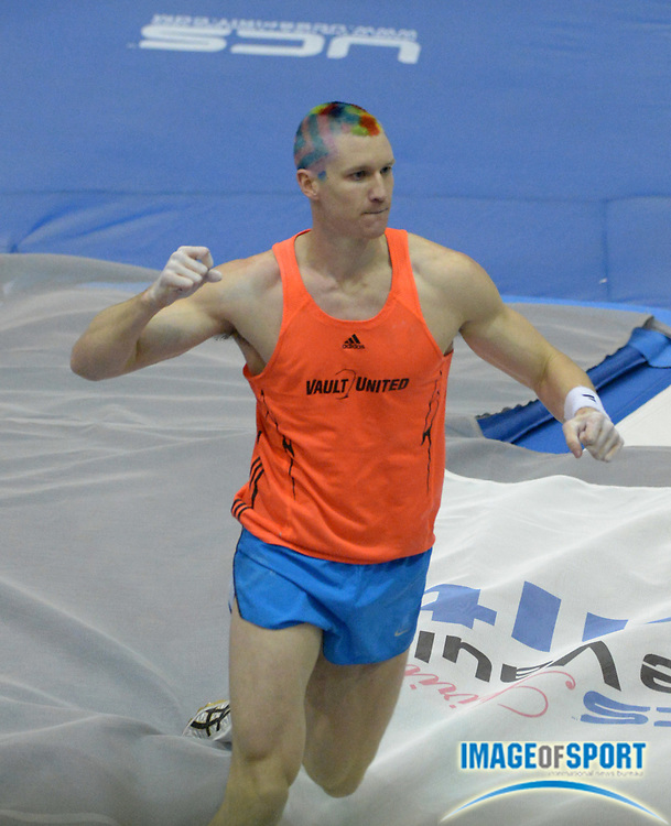 Jan 18, 2013; Reno, NV, USA; Jordan Scott (USA) reacts after a clearance in the 2013 UCS Spirit national pole vault summit at the Reno Livestock Events Center.