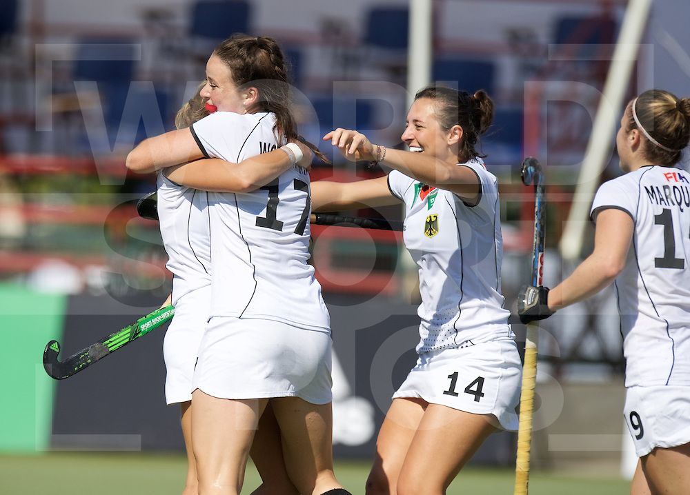 SANTIAGO - 2016 8th Women's Hockey Junior World Cup<br /> GER v FRA (Pool B)<br /> foto:  German celebrations .Amelie Wortmann, Michelle Strobel and Maxi Marquardt.<br /> FFU PRESS AGENCY COPYRIGHT FRANK