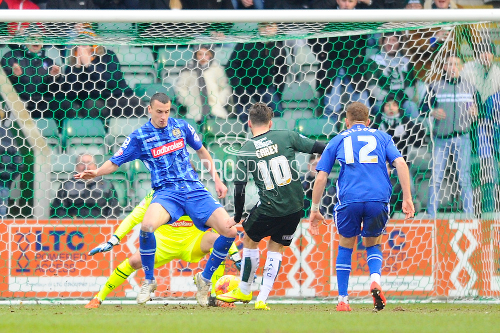 Plymouth Argyle's Graham Carey lines up his goal scoring shot during the Sky Bet League 2 match between Plymouth Argyle and Notts County at Home Park, Plymouth, England on 27 February 2016. Photo by Graham Hunt.