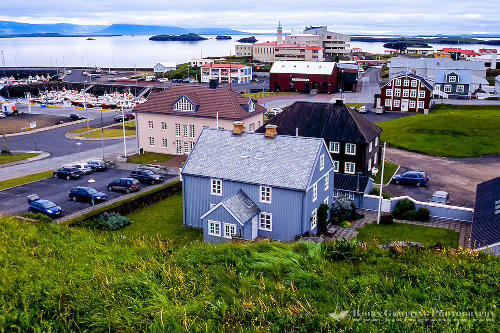 Iceland. The town of Stykkishólmur to the north of the Snæfellsnes peninsula.