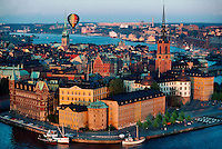 Overview of Gamla Stan (Old Town) with a hot air balloon flying overhead, Stockholm, Sweden