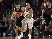 Dec 19, 2017; Los Angeles, CA, USA; Southern California Trojans guard Jordan McLaughlin (11) dribbles the ball against the Princeton Tigers during an NCAA basketball game at Galen Center. Princeton defeated USC 103-93 in overtime.
