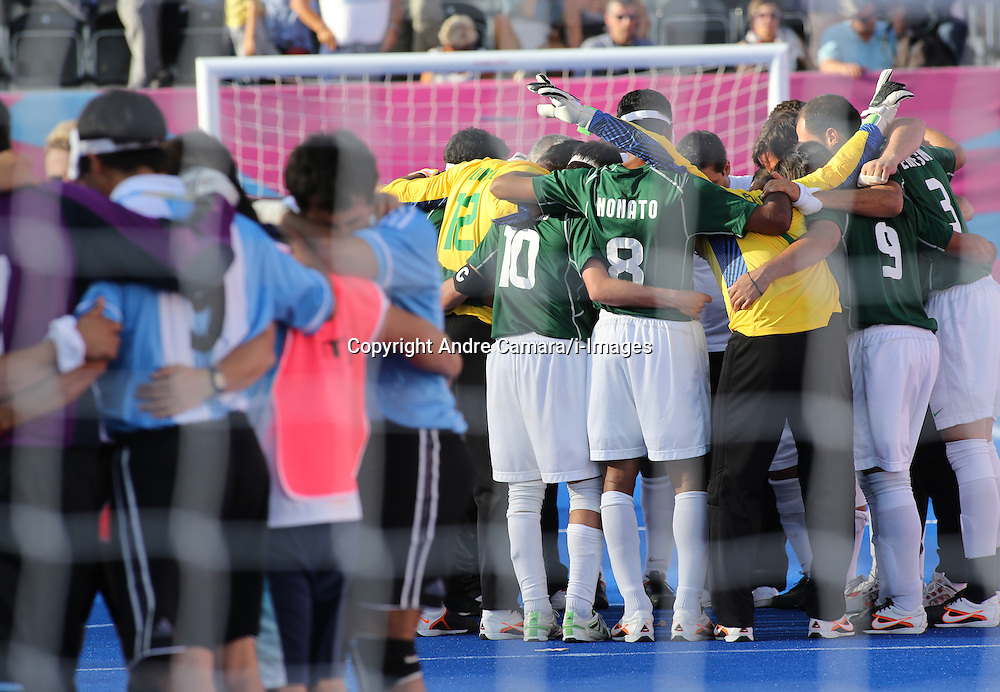 5-a-side Brazilian Players celebrate their win against Argentina on penalties (1x0) after a draw (0x0) during their semifinal at the London 2012 Paralympics September 6. Brazil will play France in the final. photo by Andre Camara/i-Images.THIS IMAGE IS FOR EDITORIAL USE ONLY