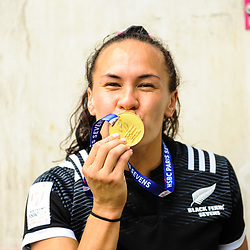 Portia Woodman of New Zealand celebrates the victory after the Final women match between New zealand and Australia at the HSBC Paris Sevens, stage of the Rugby Sevens World Series at Stade Jean Bouin on June 10, 2018 in Paris, France. (Photo by Sandra Ruhaut/Icon Sport)