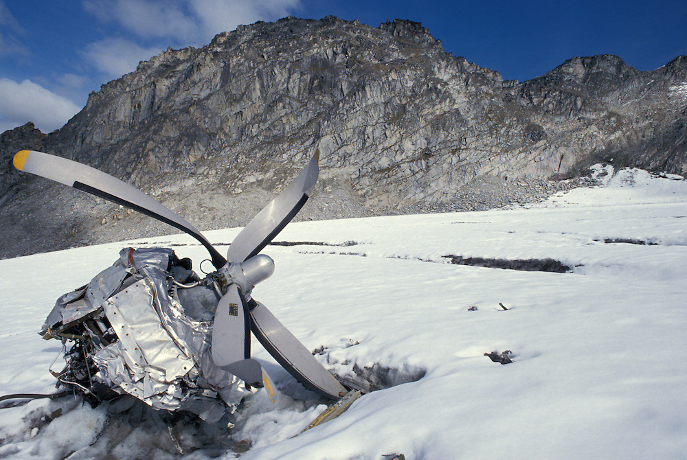 USA, Alaska, Hatcher Pass, US Air Force B-29 bomber crash site from late 1950's on glacier in Talkeetna Mountains