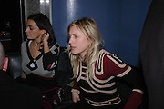 Hannah Moore and Cali Rand. 'Pret-a-Portea'M.A.C. launches High Tea collection with British fashion designers. Berkeley Hotel. 17 January 2004. ONE TIME USE ONLY - DO NOT ARCHIVE  © Copyright Photograph by Dafydd Jones 66 Stockwell Park Rd. London SW9 0DA Tel 020 7733 0108 www.dafjones.com