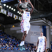 Delaware 87ers Guard DJ Seeley (18) drives towards the basket and dunks the ball in the first half of a NBA D-league regular season basketball game between the Delaware 87ers and the Erie BayHawk (Orlando Magic) Friday, Mar. 27, 2015 at The Bob Carpenter Sports Convocation Center in Newark, DEL.