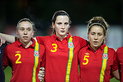 NEWTOWN, WALES - Friday, February 1, 2013: Wales' Rhian Cleverly, Alys Hinchcliffe and Danielle Oates line up before the Women's Under-19 International Friendly match against Norway at Latham Park. (Pic by David Rawcliffe/Propaganda)