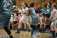 Burlington's Makayla King (12) drives past South Burlington's Allie Bosley (12) with the ball during the girls basketball game between the South Burlington Rebels and the Burlington Sea Horses at Burlington High School on Tuesday night Febraury 2, 2016 in Burlington. (BRIAN JENKINS/for the FREE PRESS)