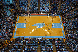 CHAPEL HILL, NC - FEBRUARY 08: An overhead general view of the Dean Smith Center with Joel Berry II #2 of the North Carolina Tar Heels dribbling the ball during a match between the North Carolina Tar Heels and the Duke Blue Devils on February 08, 2018 in Chapel Hill, North Carolina. North Carolina won 78-82. (Photo by Peyton Williams/UNC/Getty Images) *** Local Caption *** Joel Berry II