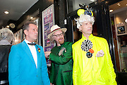 MICHAEL DAVIS; JES BENSTOCK; ANDREW LOGAN Premiere of 'The British Guide to Showing Off' Jes Benstock's documantary on Andrew Logan's life and 12 Alternative Miss World's. Prince Charles cinema, Leicester Place. London and afterward's at Moonlighting, Greek St. London. 6 November 2011. <br /> <br />  , -DO NOT ARCHIVE-© Copyright Photograph by Dafydd Jones. 248 Clapham Rd. London SW9 0PZ. Tel 0207 820 0771. www.dafjones.com.