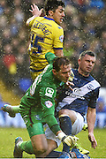 Birmingham City goalkeeper Tomasz Kuszczak (29), Birmingham City defender Paul Robinson (4) and Sheffield Wednesday striker Fernando Forestieri (45)  during the Sky Bet Championship match between Birmingham City and Sheffield Wednesday at St Andrews, Birmingham, England on 6 February 2016. Photo by Jon Hobley.