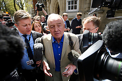 © Licensed to London News Pictures. 28/04/2016. London, UK. KEN LIVINGSTONE surrounded by media as he leaves Millbank studios in London after appearing on a television political program. Mr Livingstone has been criticised over comments he made about Jewish people. Photo credit: Ben Cawthra/LNP