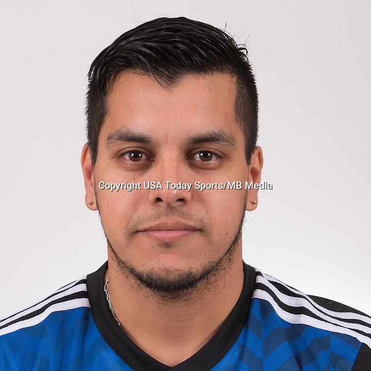 Feb 16, 2015; San Jose Earthquakes player Matias Perez Garcia poses for a photo.