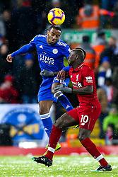 Ricardo Pereira of Leicester City beats Sadio Mane of Liverpool to a header - Mandatory by-line: Robbie Stephenson/JMP - 30/01/2019 - FOOTBALL - Anfield - Liverpool, England - Liverpool v Leicester City - Premier League