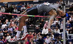 February 17, 2018 - Albuquerque, NM, U.S. - Erik Kynard  clears the bar in the mens high jump to win his fifth indoor championship at the USATF Indoor Championships. Saturday, Feb. 17,  2018. (Credit Image: © Jim Thompson/Albuquerque Journal via ZUMA Wire)