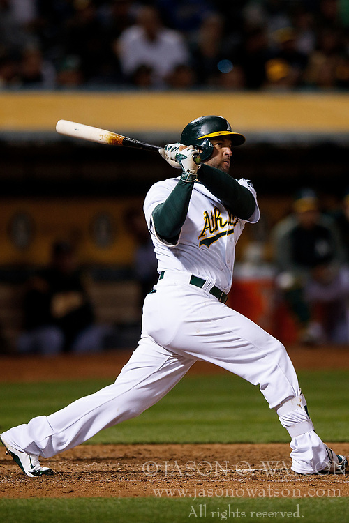 OAKLAND, CA - APRIL 04:  Yonder Alonso #17 of the Oakland Athletics at bat against the Los Angeles Angels of Anaheim during the seventh inning at the Oakland Coliseum on April 4, 2017 in Oakland, California. The Los Angeles Angels of Anaheim defeated the Oakland Athletics 7-6. (Photo by Jason O. Watson/Getty Images) *** Local Caption *** Yonder Alonso