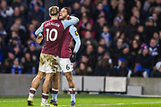Jack Grealish (Capt) (Aston Villa) celebrates the goal 1-1 with Douglas Luiz (Aston Villa) during the Premier League match between Brighton and Hove Albion and Aston Villa at the American Express Community Stadium, Brighton and Hove, England on 18 January 2020.