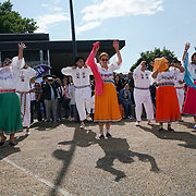 London, UK. 4th August 2017. Danza Cristiana preforms at The 6th annual LATIN American Carnival Newham. A Latin American summer festival party with live music, delicious food & drinks and barbecue of Latino community and to show the vibrant of Latin culture at West Ham.