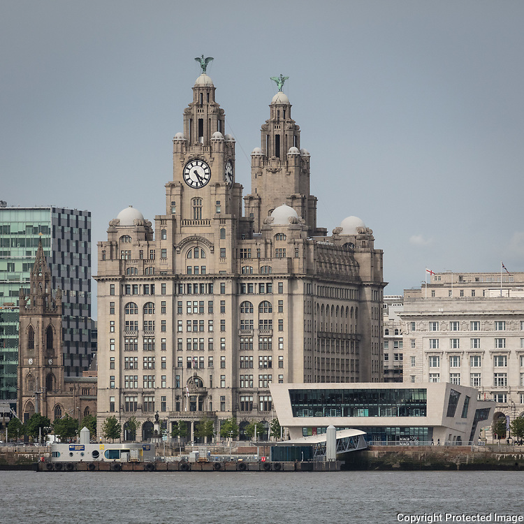 Royal Liver Building & the Mersey Ferry terminal from Birkenhead, Merseyside.