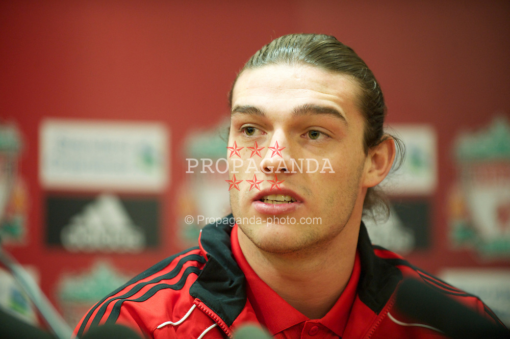 LIVERPOOL, ENGLAND - Thursday, February 3, 2011: Liverpool's new siginging Andy Carroll during a photo-call at Anfield Carroll arrived from Newcastle United for a club record fee of £35m. (Photo by David Rawcliffe/Propaganda)