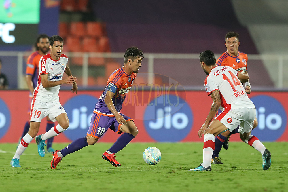 Marcelo Leite Pereira of FC Pune City during the first semi final 1st leg of the Hero Indian Super League between FC Pune City and Bengaluru FC held at the Shree Shiv Chhatrapati Sports Complex Stadium, Pune, India on the 7th March 2018<br /> <br /> Photo by: Ron Gaunt / ISL / SPORTZPICS