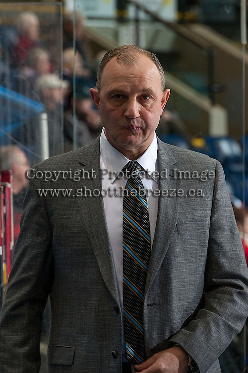 KELOWNA, CANADA -FEBRUARY 5: Brent Sutter, head coach of the Red Deer Rebels enters the bench against the Kelowna Rockets on February 5, 2014 at Prospera Place in Kelowna, British Columbia, Canada.   (Photo by Marissa Baecker/Getty Images)  *** Local Caption *** Brent Sutter;