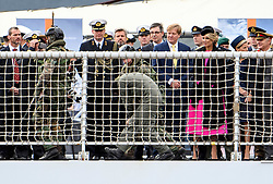 © Licensed to London News Pictures. 24/10/2018. London, UK. Dutch Marines walk a hostage past King Willem-Alexander and Queen Maxima in board HNLMS Zeeland during the exercise. British Royal Marines are joined by the The Royal Netherlands Marines in a military demonstration at HNLMS Zeeland, which is anchored next to anchored next to HMS Belfast on the River Thames in central London. Members of the British and Dutch Royal families watched the event as part of a state visit to the UK. Photo credit: Ben Cawthra/LNP