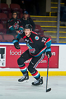 KELOWNA, CANADA - OCTOBER 5:  Braydyn Chizen #22 of the Kelowna Rockets skates against the Victoria Royals on October 5, 2018 at Prospera Place in Kelowna, British Columbia, Canada.  (Photo by Marissa Baecker/Shoot the Breeze)  *** Local Caption ***