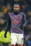 Arsenal forward Alexandre Lacazette (9), warming-up, before the Premier League match between Chelsea and Arsenal at Stamford Bridge, London, England on 21 January 2020.