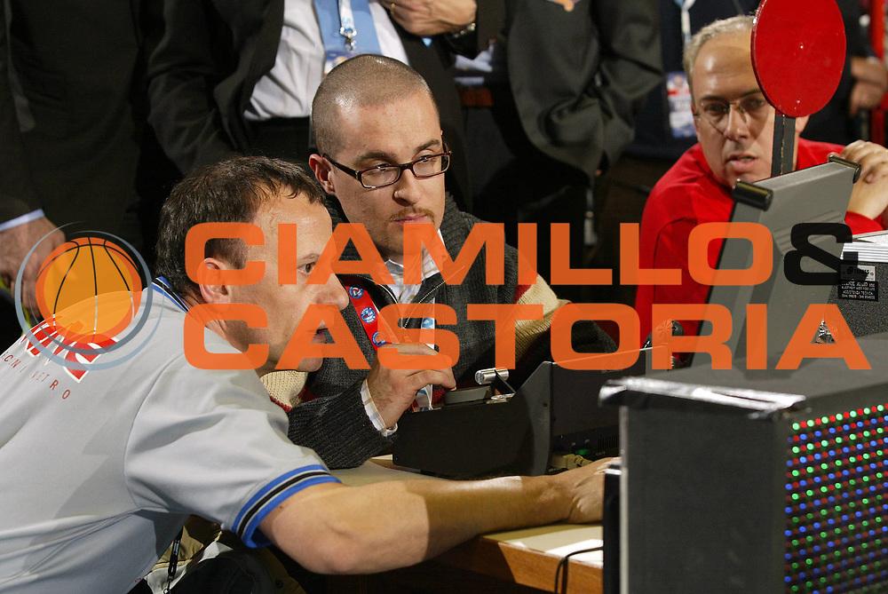 DESCRIZIONE : FORLI FINAL 8 COPPA ITALIA LEGA A1 2005 <br /> GIOCATORE : COLUCCI-ARBITRO-MOVIOLA <br /> SQUADRA : <br /> EVENTO : FINAL 8 COPPA ITALIA LEGA A1 2005 <br /> GARA : LOTTOMATICA ROMA-CLIMAMIO BOLOGNA <br /> DATA : 18/02/2005 <br /> CATEGORIA : <br /> SPORT : Pallacanestro <br /> AUTORE : Agenzia Ciamillo-Castoria/E.Pozzo