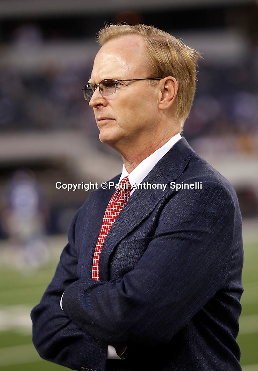 New York Giants John Mara, President and CEO watches pregame warmups during the NFL week 7 football game against the Dallas Cowboys on Monday, October 25, 2010 in Arlington, Texas. The Giants won the game 41-35. (©Paul Anthony Spinelli)