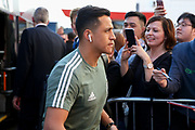 Manchester United Forward Alexis Sanchez arrives off club coach before the Premier League match between Bournemouth and Manchester United at the Vitality Stadium, Bournemouth, England on 18 April 2018. Picture by Phil Duncan.